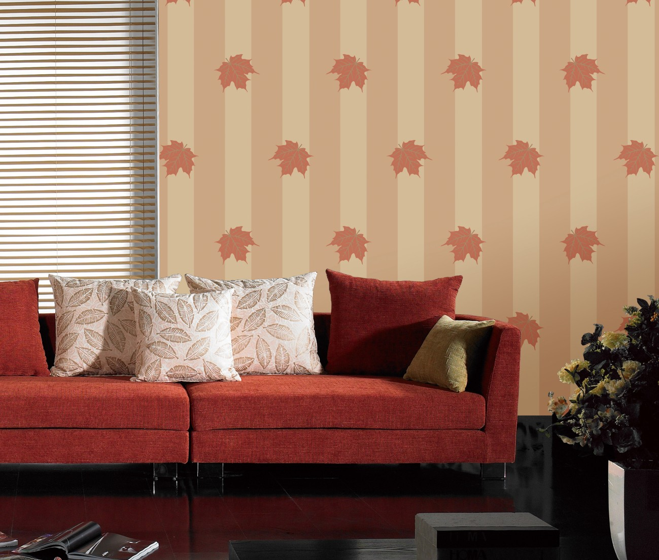 Plank-non-woven foaming sprinkled gold wallpaper