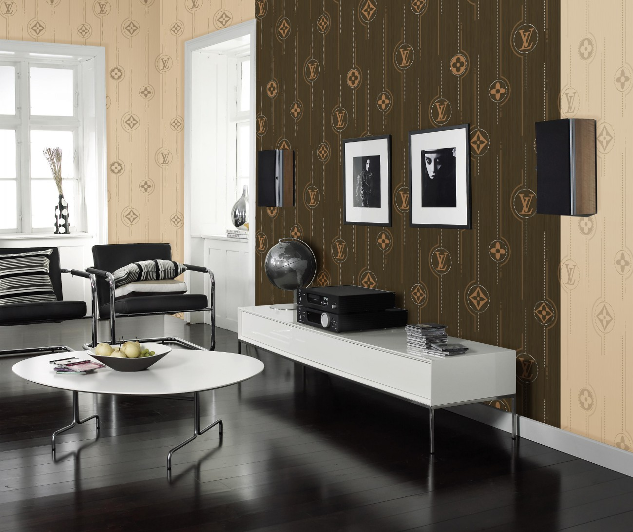MAGNIFICENT-non-woven foaming sprinkled gold wallpaper